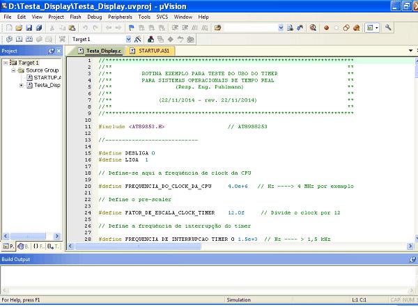 displays de 7 segmentos - Programa Keil pronto com o programa exemplo carregado