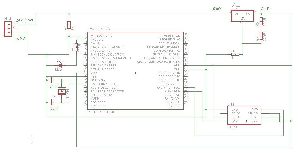 PIC na IoT: Circuito esquemático - PIC e ESP8266