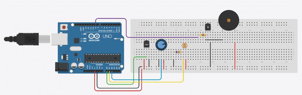 Circuito com componentes analógicos.